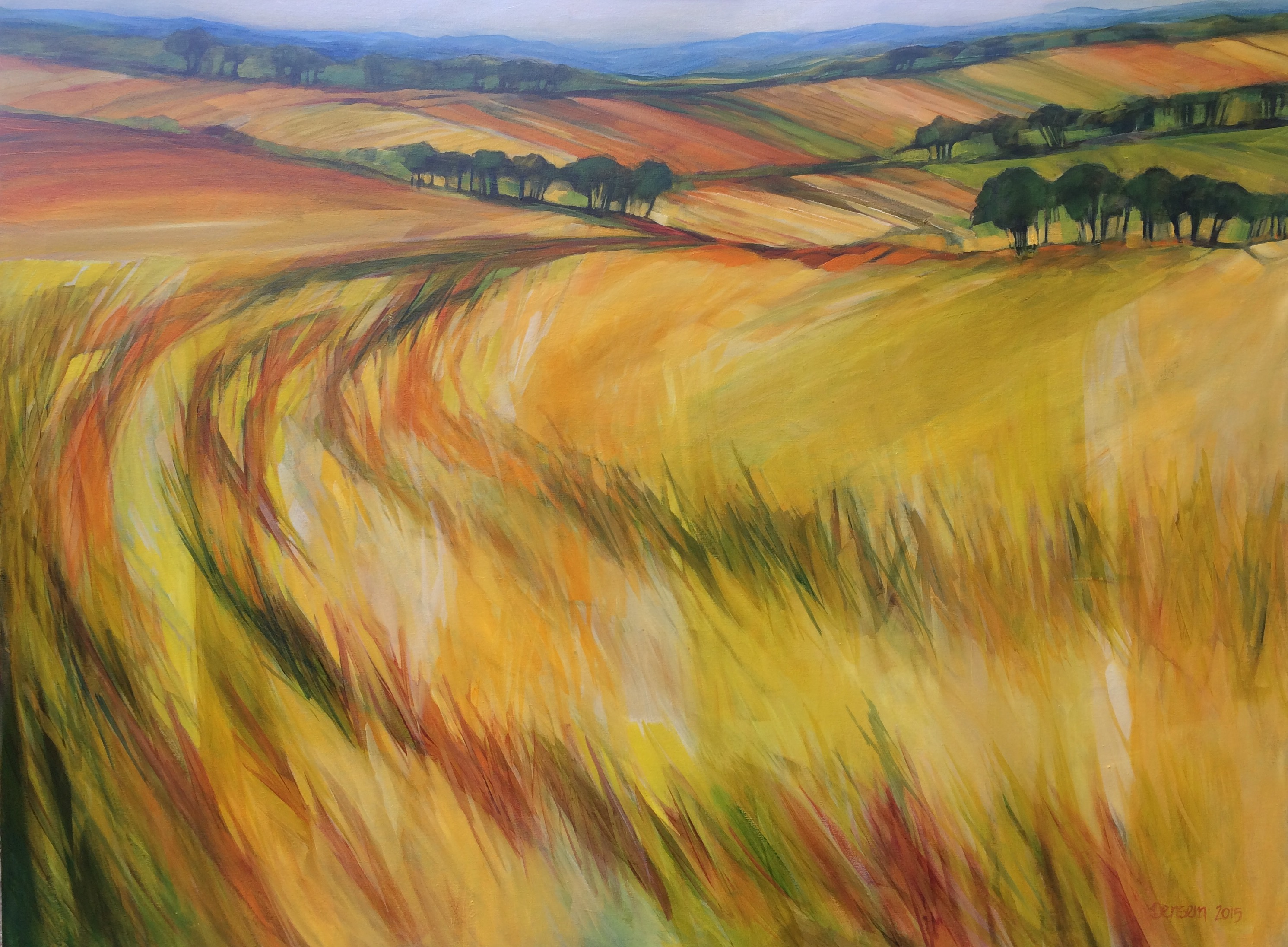 Sandy_Densem_Shropshire_Wheatfields_oil_on_canvas